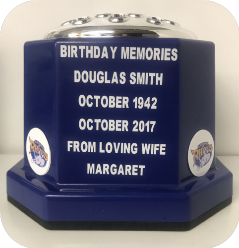Leeds Rhinos Rugby personalised grave pot blue